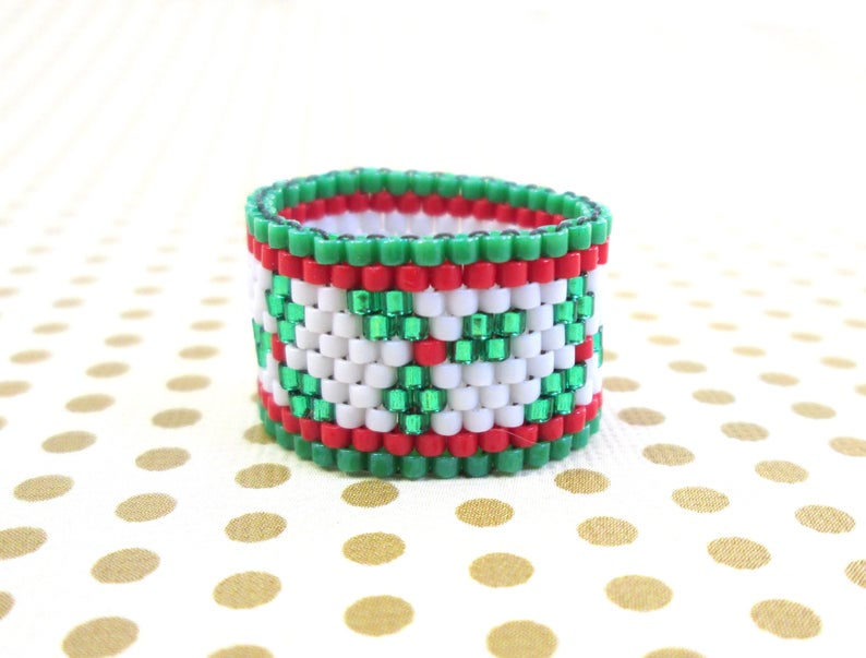 Christmas Holly Seed Bead Ring  Holiday peyote beaded ring in image 0