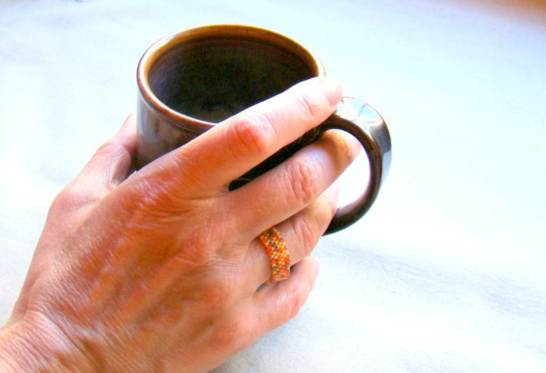 Autumn Harvest seed bead ring  Beaded ring in fall colors   Peyote Ring in Orange Color Mix  Unisex Ring  Everyday Jewelry
