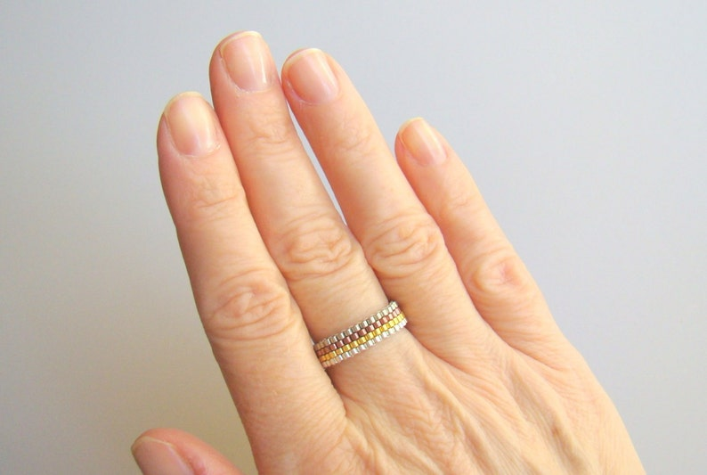 Skinny Bead Ring Silver and Gold Ring Copper Gold Mixed Metals Narrow Band Minimalist Seed Bead Pinky Ring Men or Women Festival Jewelry