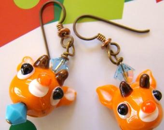 Rudolf Christmas earrings  Lampwork reindeer Earrings  Beaded Holiday Earrings  Hypoallergenic Earrings - HO0001