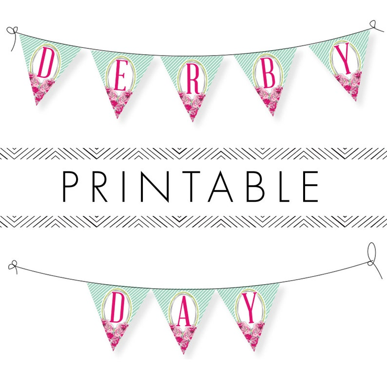 Derby Bunting Printable Entire Alphabet in Pink image 0