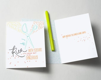 Run With Scissors Greeting Card