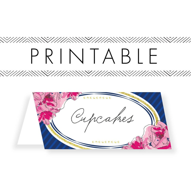 Derby Buffet Cards Printable in Navy image 0
