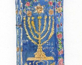 jewsh art-jewish painting- Wooden Torah box-tik for sefer torah-iranian painting-Limited art print 29.7 x 21 cm