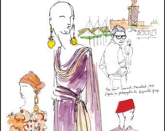 Yves Saint Laurent sketches-Yves Saint Laurent sketches-Yves Saint Laurent dresses-Yves Saint Laurent poster-fashion design gift