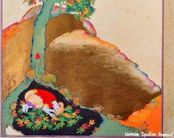 Persian painting-persian art- persian miniature painting- LIMITED GICLEE PRINT-Young man sleeping under a tree