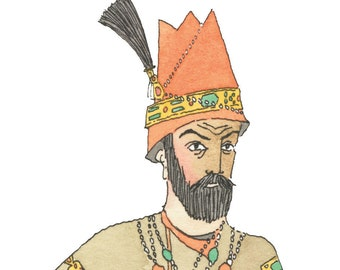 Qajar painting-qajart art-qajar drawing-hovhannes toumanian-fath ali shah qajar -Original watercolor