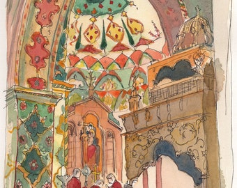 Artsakh Help-Armenia Help-armenian painting-Etchmiadzin cathedral interior with cypres-limited art print