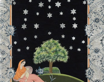 indo Persian painting - indo persian miniature-iranian painting-iranian miniature-LIMITED GICLEE PRINT 29.7x21 cm-The night of the stars