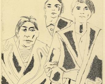 Woman portrait-woman painting-woman drawing-black and white portrait-Trois femmes Original Etching
