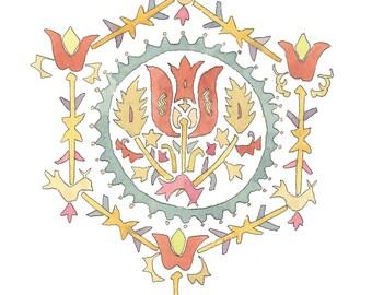 armenian painting-armenian art-armenian embroidery-armenian pattern-hovhannes toumanian-Original watercolor