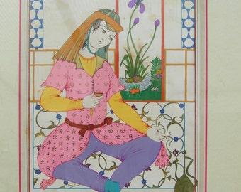 "PERSIAN PAINTING-persian miniature-persian art-Tarot deck ""La Tempérance"" Original painting with frame-Contemporary Persian miniature"