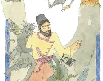 Armenian painting-Armenian art-hovhannes toumanian-Mon Ami Toumanian illustration-Loretsi Sako-Armenian poem-original watercolor