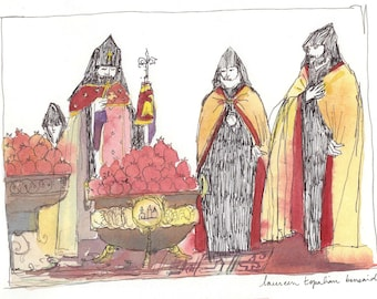 Artsakh Help-Armenia Refugees Help-armenian painting-pomegranates blessing in Etchmiadzin-limited art print