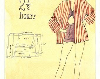Vintage sewing pattern-fashion design painting-fashion design drawing-vintage fashion-fashion design art-Original watercolor