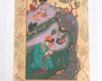Persian painting/original persian miniature print-iranian art-persian art/Dervish with animals- limited art print 42 x 29.7 cm