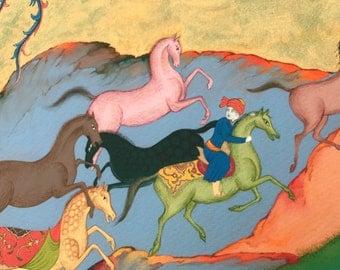 Persian painting-Persian art-persian miniature painting-Horses painting- GICLEE PRINT-limited edition giclee Print-artprint