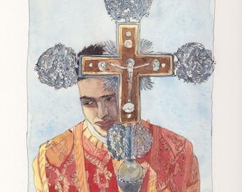Original watercolor - Etchmiadzin procession-Armenian cathedral-Armenia painting-armenian liturgy