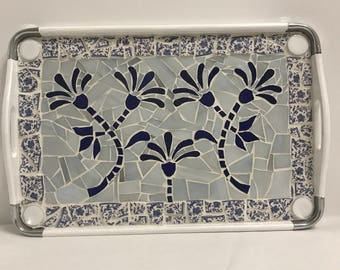 Mosaic blue and white tray