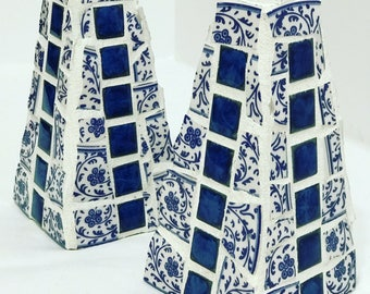 Blue and white mosaic candle holders