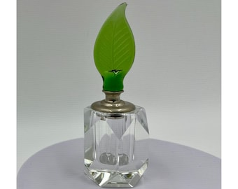 """Cut Crystal Perfume Bottle w Green Leaf Wand Stopper Clear Faceted 3 7/8"""" Tall"""