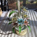 """Vintage Tole Floral Table Lamp with Pink, Blue, Yellow Flowers 22"""" x 6.5"""""""