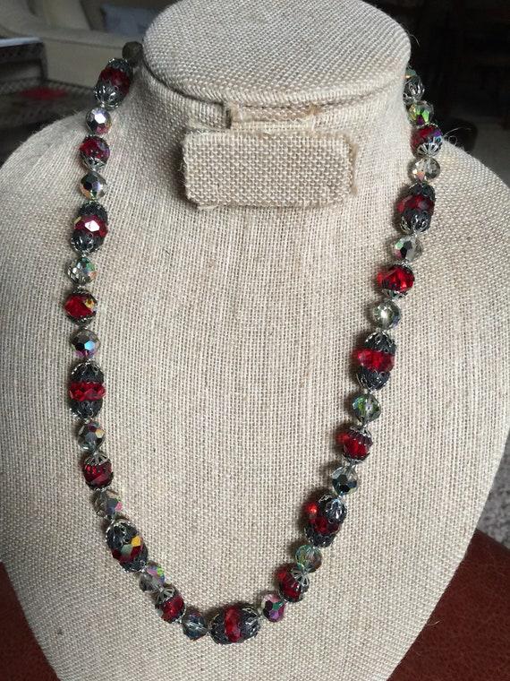 Vintage Vendome Red & AB Crystal Necklace