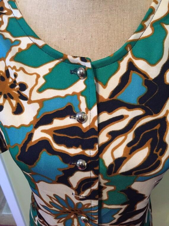 Vintage Green/Blue Floral Button Front A-Line Dre… - image 2