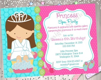 Spa party invitation Etsy