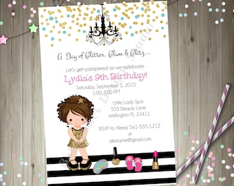 Glamour Spa Party Invitation invite Dress Up Pamper Spa Day Glam Diva Party Printable Invitation CHOOSE YOUR GIRL