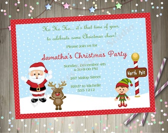 kids holiday party invitation christmas party invite printable santa reindeer elf