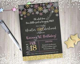 Winter Onederland Invitation Snowflake Birthday Invitation Etsy
