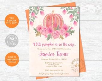 Editable Girl Pumpkin Baby Shower Invitation, Invite, baby Sprinkle, printable, digital,