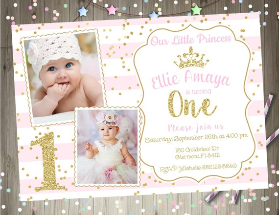 Princess 1st Birthday Invitation Invite Pink And Gold Photo Picture Printable