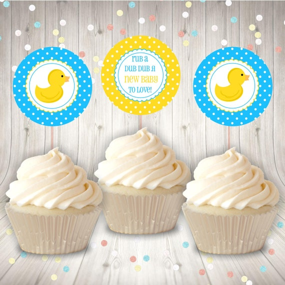 Rubber Duck Baby Shower Cupcake Toppers Party Tags Favor Tags Etsy