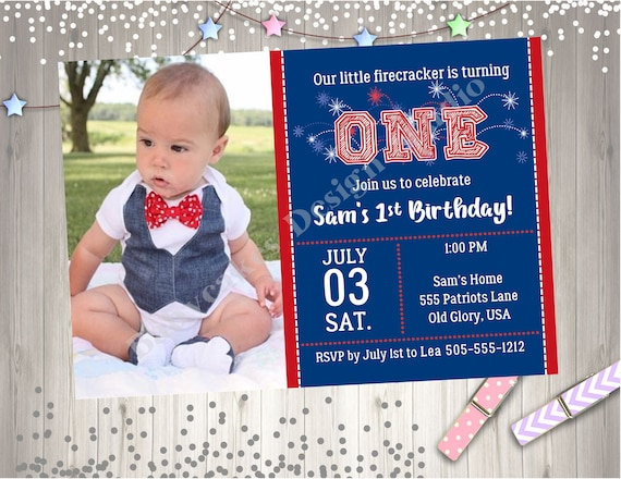 July 4th Birthday Party Invitation Invite Boy Photo Picture Little Firecracker Printable Of