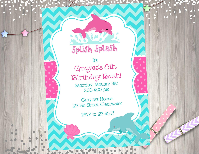 Dolphin Birthday Invitation Invite Dolphin Party Printable | Etsy