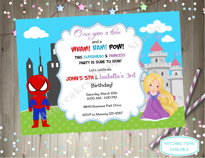 superhero and princess invitation sibling birthday