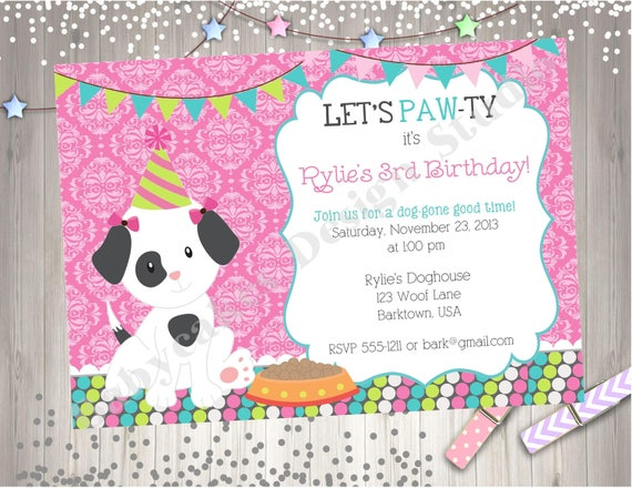 Girl Puppy Pawty Birthday Invitation Invite Party Printable