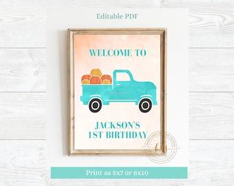 Editable Pumpkin Party Sign, Digital, Printable