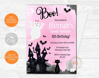 Editable Cute Ghost Halloween Birthday Party Invitation, Invite, Printable, Digital