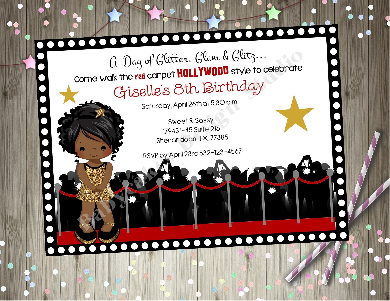 Hollywood Diva Birthday Invitation Glamour Party Dress Up | Etsy