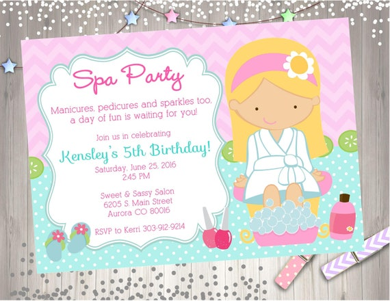Spa Party Invitation Birthday Printable CHOOSE YOUR GIRL