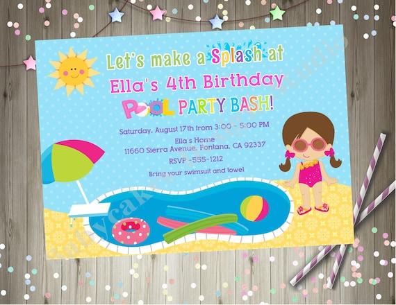 swim party birthday invitations