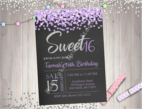 Sweet 16 Birthday Party Invitation Invite Silver Purple Lavender Sweet Sixteen Party Printable Invitation