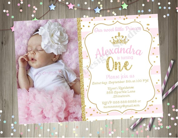 Princess 1st Birthday Party Invitation Invite Pink And Gold Printable Photo Picture