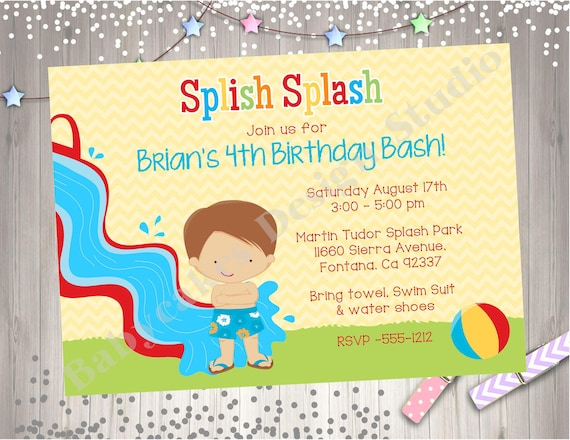 Water Slide Birthday Party Invitation Invite Splash Pool Pad Waterslide CHOOSE YOUR BOY