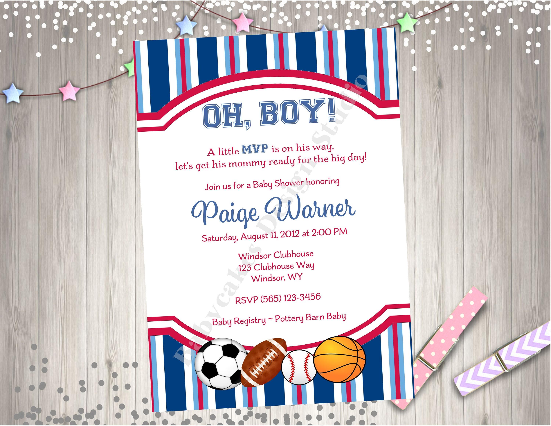 Sports Theme Baby Shower Invitation Invite MVP Baby Shower   Etsy