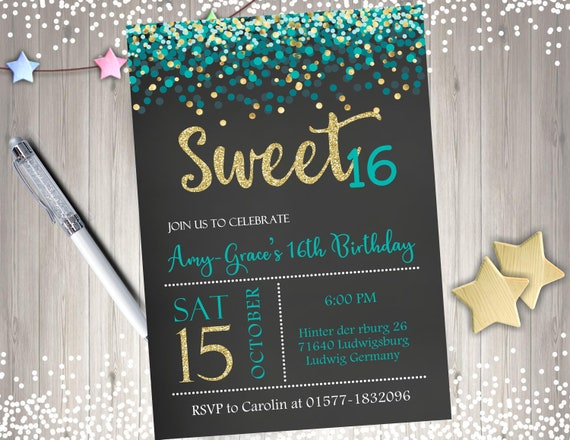 Sweet 16 Birthday Party Invitation Invite Sixteen Printable Gold Teal Confetti Chalkboard