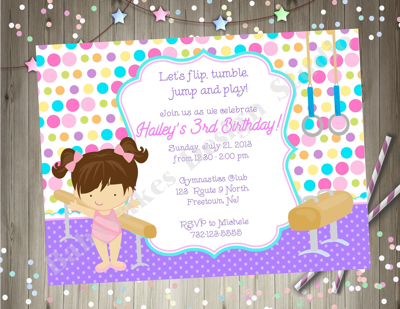 Gymnastics Birthday Party Invitation Invite